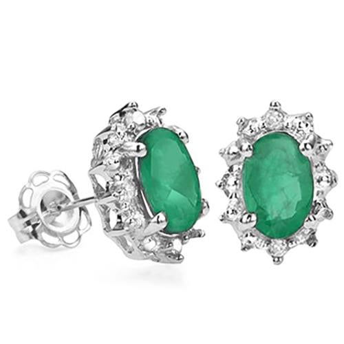 1 CARAT EMERALD & DIAMOND 925 STERLING SILVER EARRINGS
