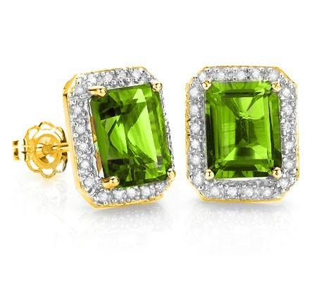 AMAZING 3.50 CT PERIDOT & 42 PCS WHITE DIAMOND 10K SOLID YELLOW  GOLD EARRINGS