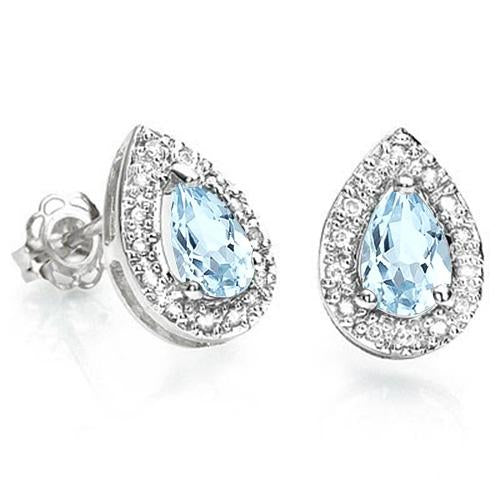 1 CARAT BABY SWISS BLUE TOPAZ  925 STERLING SILVER EARRINGS