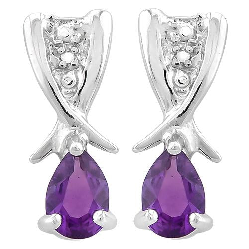 3/4 CARAT AMETHYST   925 STERLING SILVER EARRINGS