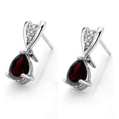 1 CARAT GARNET   925 STERLING SILVER EARRINGS