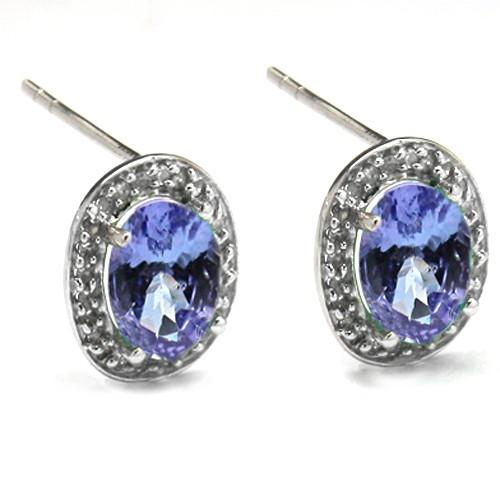 DAZZLING 0.34 CT GENUINE TANZANITE & 48 PCS WHITE DIAMOND 10K SOLID WHITE GOLD EARRINGS