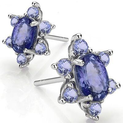 1 1/4 CARAT TANZANITE 925 STERLING SILVER EARRINGS