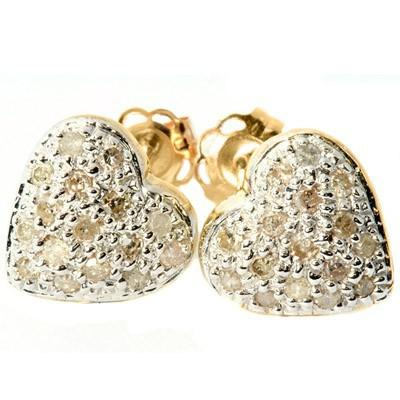 0.15 CT WHITE DIAMOND 10K SOLID YELLOW GOLD EARRINGS