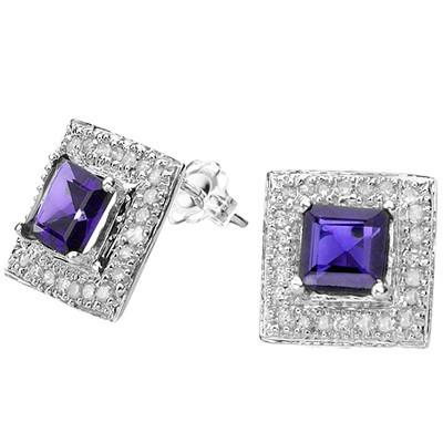 BRILLIANT 1.36 CT GENUINE TANZANITE & 48 PCS WHITE DIAMOND 10K SOLID WHITE GOLD EARRINGS