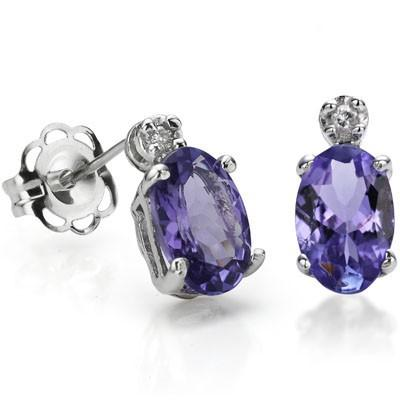 PRICELESS 1.13 CARAT TW (4 PCS) GENUINE TANZANITE & GENUINE DIAMOND 10K SOLID WHITE GOLD EARRINGS