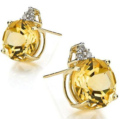 CLASSY 3.71 CT CITRINE & 6 PCS WHITE DIAMOND 10K SOLID YELLOW GOLD EARRINGS