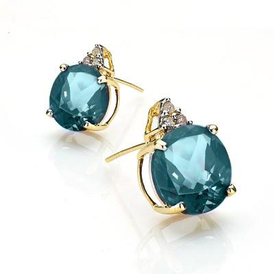 AWESOME 4.83 CT LONDON BLUE TOPAZ & 6 PCS WHITE DIAMOND 10K SOLID YELLOW GOLD EARRINGS