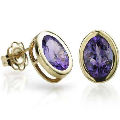 CLASSY 0.95 CT GENUINE TANZANITE 10K SOLID YELLOW GOLD EARRINGS