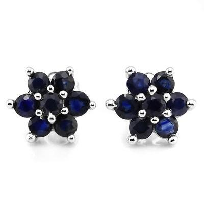 ELEGANT 1.32 CT GENUINE SAPPHIRE 10K SOLID WHITE GOLD EARRINGS