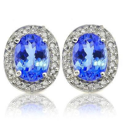 MESMERIZING 2.34 CT GENUINE TANZANITE & 48 PCS GENUINE DIAMOND 10K SOLID WHITE GOLD EARRINGS