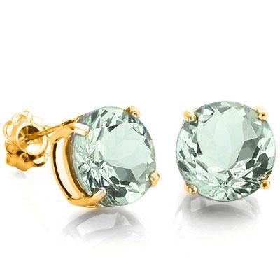 EXCELLENT 6.52 CARAT TW (2 PCS) GREEN AMETHYST 10K SOLID YELLOW GOLD EARRINGS