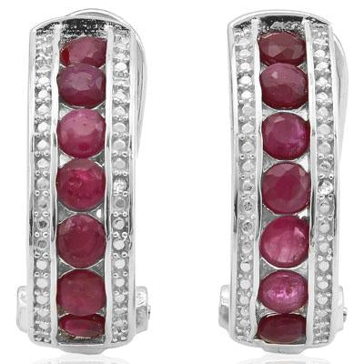 EXQUISITE 2.262 CARAT GENUINE RUBY & GENUINE DIAMOND PLATINUM OVER 0.925 STERLING SILVER FRENCH BACK EARRINGS