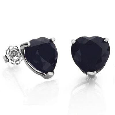 WHOPPING 1 1/4 CARAT GENUINE BLACK SAPPHIRE 10KT SOLID GOLD EARRINGS