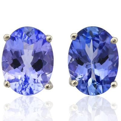 MAGNIFICENT 1 CARAT GENUINE TANZANITE 10KT SOLID GOLD EARRINGS