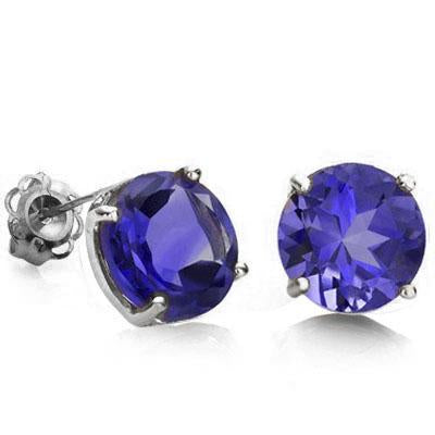 WHOPPING 1 2/3 CARAT LAB TANZANITE 10KT SOLID GOLD EARRINGS
