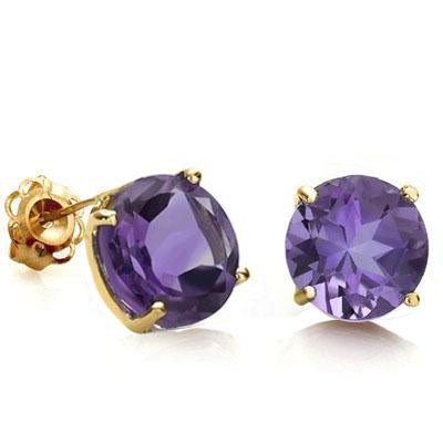 AWESOME 0.9 CARAT TW (2 PCS) AMETHYST 10K SOLID YELLOW GOLD EARRINGS