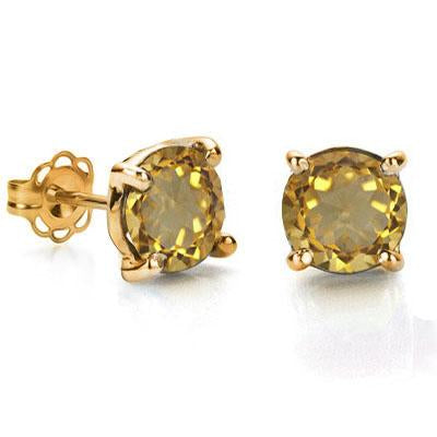 BRILLIANT 0.9 CARAT TW (2 PCS) CITRINE 10K SOLID YELLOW GOLD EARRINGS