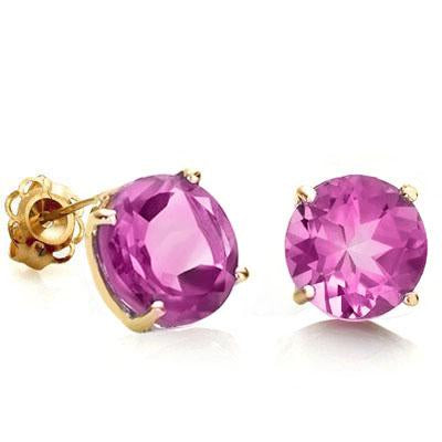 CLASSY 0.9 CARAT TW (2 PCS) CREATED PINK SAPPHIRE 10K SOLID YELLOW GOLD EARRINGS