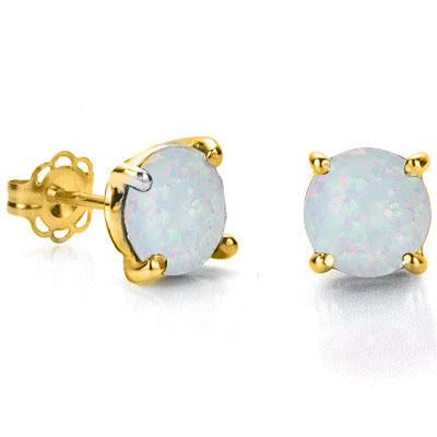 ELITE 0.9 CARAT TW (2 PCS) CREATED FIRE OPAL 10K SOLID YELLOW GOLD EARRINGS