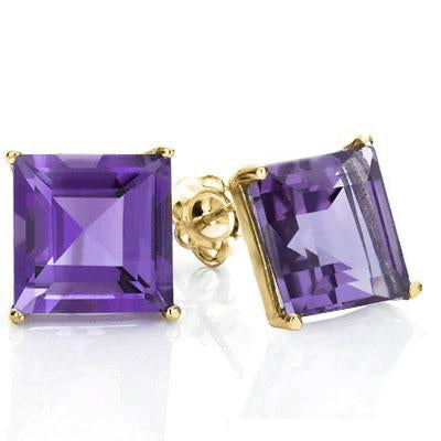 EXCELLENT 1 CARAT TW (2 PCS) AMETHYST 10K SOLID YELLOW GOLD EARRINGS