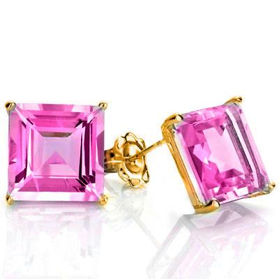 LOVELY 1 CARAT TW (2 PCS) CREATED PINK SAPPHIRE 10K SOLID YELLOW GOLD EARRINGS