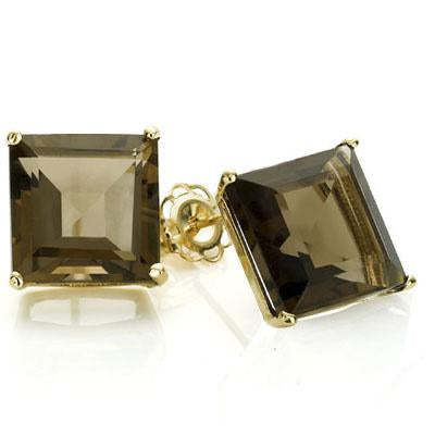 PERFECT 1 CARAT TW (2 PCS) SMOKEY TOPAZ 10K SOLID YELLOW GOLD EARRINGS