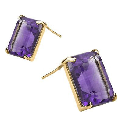 EXCLUSIVE 1.1 CARAT TW (2 PCS) AMETHYST 10K SOLID YELLOW GOLD EARRINGS