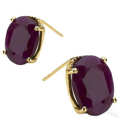 EXCLUSIVE 1 CARAT TW (2 PCS) GENUINE RUBY 10K SOLID YELLOW GOLD EARRINGS