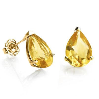 AMAZING 1 CARAT TW (2 PCS) CITRINE 10K SOLID YELLOW GOLD EARRINGS