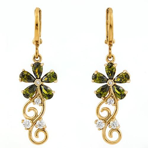 LUXURIANT ! CREATED GREEN SAPPHIRE & FLAWLESS CREATED DIAMOND 18K GOLD PLATED GERMAN SILVER EARRINGS