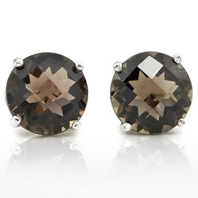 MARVELOUS 9.00 CT SMOKEY TOPAZ 10K SOLID WHITE GOLD EARRINGS