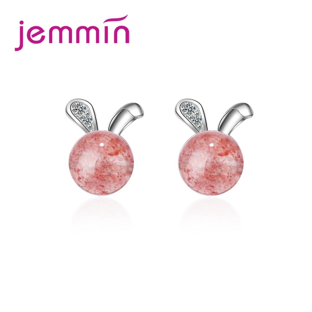 Jemmin New Arrival Lovely Cute Stud Earrings For Women 925 Sterling Silver Big Round Pink Stone Boucle d'oreille For Sale