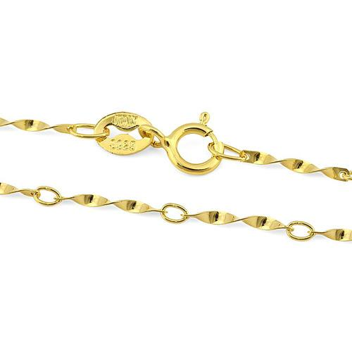 $2.99 per chain(5pcs) - ALLURING YELLOW GOLD PLATED PURE 925 ITALY STERLING SILVER NECKLACE-22 INCHES