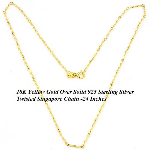 $2.99 per chain(5pcs) - DAZZLING YELLOW GOLD PLATED PURE 925 ITALY STERLING SILVER NECKLACE-24 Inches