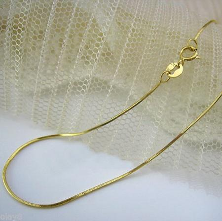 $2.99 per chain(5pcs) - MARVELOUS ! 925 STERLING SILVER YELLOW GOLD PLATED SNAKE CHAIN 20 INCHES
