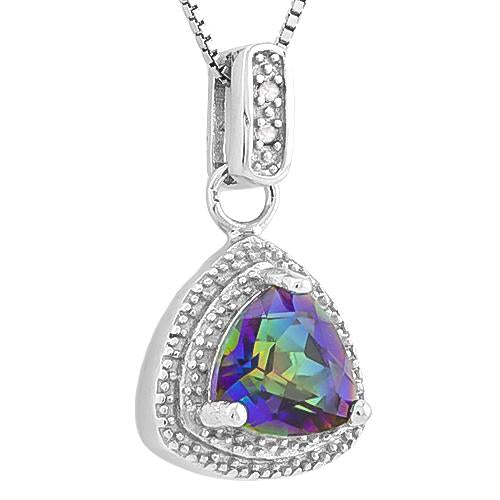 AWESOME ! 1 1/5 CARAT OCEAN MYSTIC GEMSTONE & DIAMOND 925 STERLING SILVER PENDANT