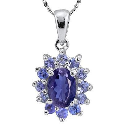 1.12 CARAT TW  IOLITE & GENUINE TANZANITE PLATINUM OVER 0.925 STERLING SILVER PENDANT