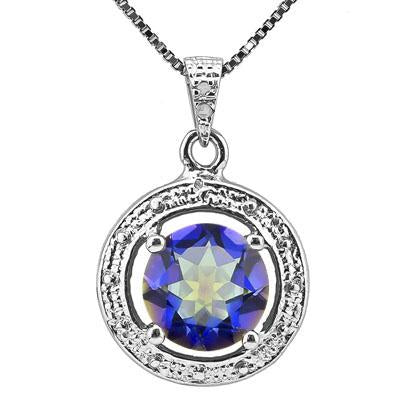AWESOME 1.66 CARAT BLUE MYSTIC GEMSTONE & GENUINE DIAMOND PLATINUM OVER 0.925 STERLING SILVER PENDANT