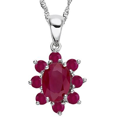 0.99 CARAT TW GENUINE RUBY & GENUINE RUBY PLATINUM OVER 0.925 STERLING SILVER PENDANT
