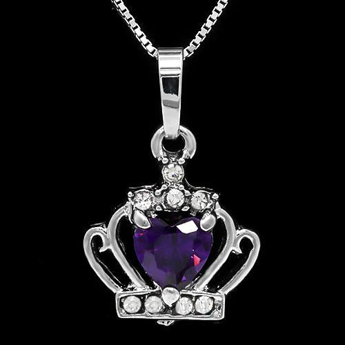 FOXY ! CREATED AMETHYST & FLAWLESS CREATED DIAMOND 18K GOLD PLATED GERMAN SILVER PENDANT