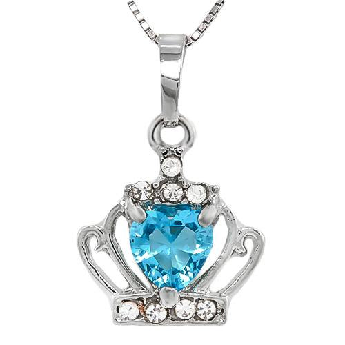 BEAUTEOUS ! CREATED SWISS TOPAZ & FLAWLESS CREATED DIAMOND 18K GOLD PLATED GERMAN SILVER PENDANT