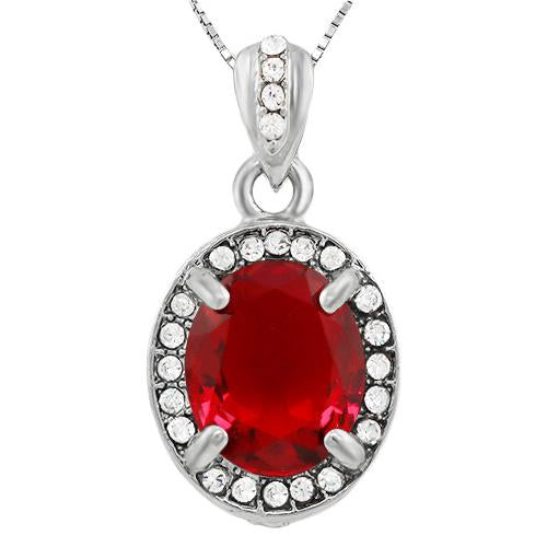 ALLURING ! CREATED RUBY & FLAWLESS CREATED DIAMOND 18K GOLD PLATED GERMAN SILVER PENDANT