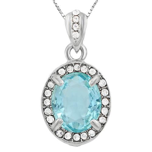 BEAUTIFUL ! CREATED BABY SWISS BLUE TOPAZ & FLAWLESS CREATED DIAMOND 18K GOLD PLATED GERMAN SILVER PENDANT
