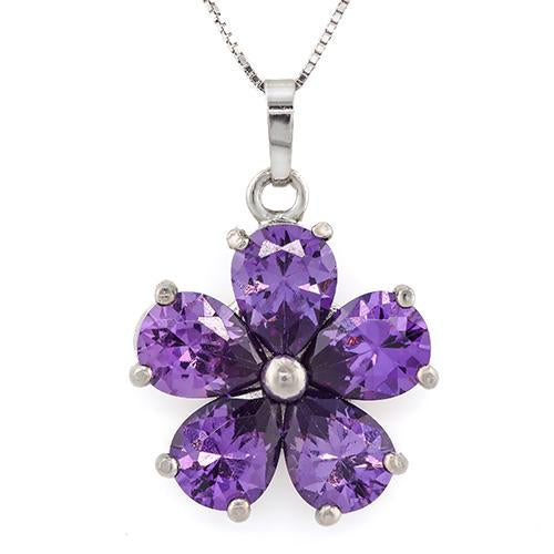 ELITE ! CREATED AMETHYST 18K GOLD PLATED GERMAN SILVER PENDANT