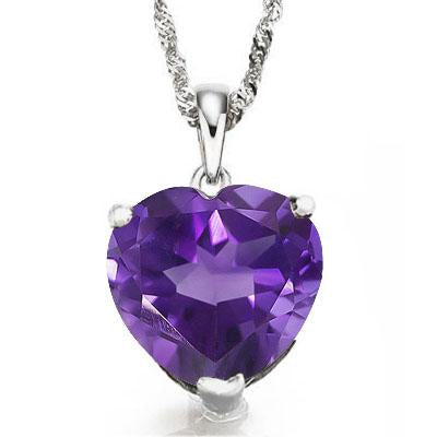 STUNNING 0.5 CARAT 5MM HEART AMETHYST 10K SOLID WHITE GOLD PENDANT