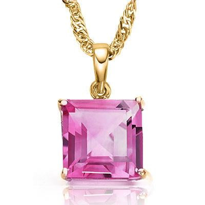 SMASHING 0.5 CARAT TW (1 PCS) CREATED PINK SAPPHIRE 10K SOLID YELLOW GOLD PENDANT
