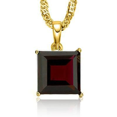 MESMERIZING 0.5 CARAT TW (1 PCS) GARNET 10K SOLID YELLOW GOLD PENDANT