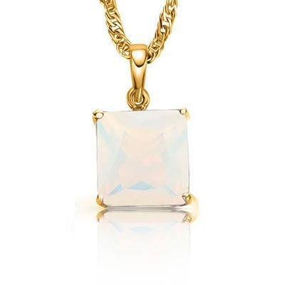 STUNNING 0.5 CARAT TW (1 PCS) CREATED FIRE OPAL 10K SOLID YELLOW GOLD PENDANT