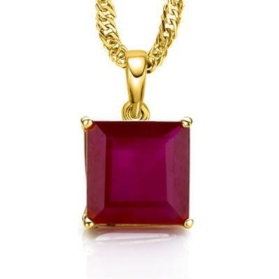 SPECTACULAR 0.5 CARAT TW (1 PCS) GENUINE RUBY 10K SOLID YELLOW GOLD PENDANT